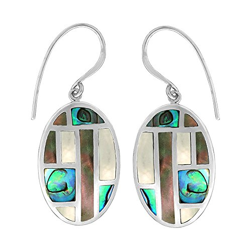 Mother Of Pearl Abalone Mosaic - Boma Jewelry Sterling Silver Abalone, Black Mother of Pearl, Mother of Pearl Oval Mosaic Earrings