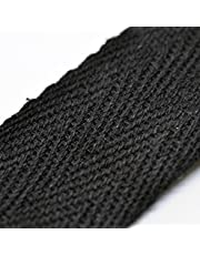 """Anrox Supply Co.Twill Tape 1/2"""" 100% Cotton Black Natural White 5 or 10 Yards (10, Black)"""