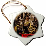 3dRose Alexis Photography - Transport Railroad - Ancient steam train engine. The veteran. Stylized photo - 3 inch Snowflake Porcelain Ornament (orn_270614_1)