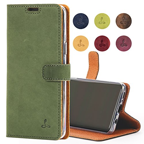 Snakehive Samsung Galaxy S9 Case, Genuine Leather Wallet with Viewing Stand and Card Slots, Flip Cover Gift Boxed and Handmade in Europe for Samsung Galaxy S9 - (Deep Green)