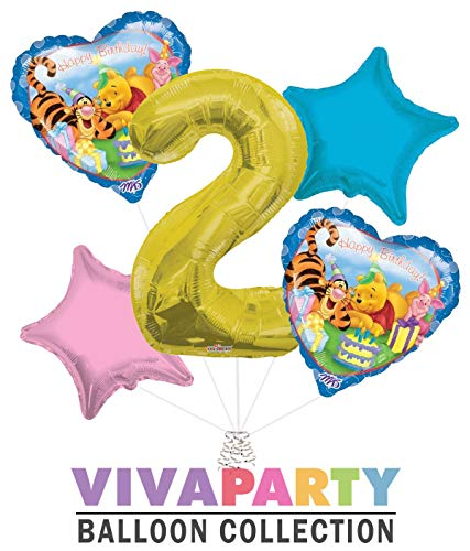 Winnie The Pooh Heart Balloon Bouquet 5 pc, 2nd Birthday, Gold Number 2 Jumbo Balloon | Viva Party Balloon Collection