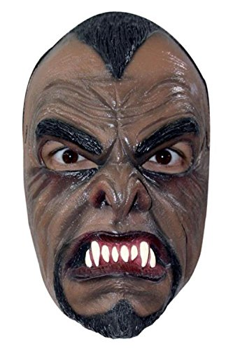Wolfman Jack Costume (Werewolf Half Mask Latex Fangs Brown Wolf Man Halloween Costume Accessory)