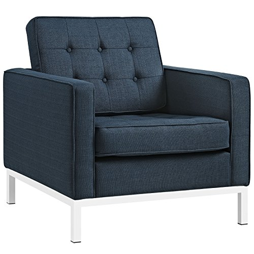 Modway EEI-2050-AZU Loft Upholstered Fabric Mid-Century Modern Accent Arm Lounge Chair Azure