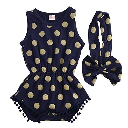 Baby Girl Clothes Gold Dots Bodysuit Romper Jumpsuit One-pieces Outfits Set (0-6 Months, Navy Blue) - Infants Dress