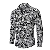 MIS1950s Mens Business Shirts Fashion Ethnic Print Long Sleeve Slim Fit Tops Blouse Autumn
