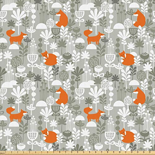 Lunarable Autumn Fall Fabric by The Yard, Cute Fox Animal Sleeping in The Forest Plants Woodland Wildlife Theme, Microfiber Fabric for Arts and Crafts Textiles & Decor, 1 Yard, Orange Grey White from Lunarable