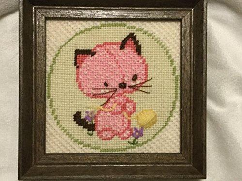 Sunset Kitty Cat Needlepoint, Framed Handmade Needlepoinet, Needlepoint Home Decor