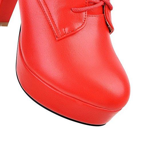 AllhqFashion Mujeres Sólido Tacón Grueso Cordones Puntera Redonda Botas Rojo