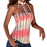 Fashion Women Sexy Top Casual O Neck Print Tuxedo Vest Hollow Out Off Shoulder Tank Cami Top Pink