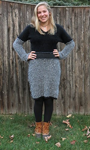 Black N White Soft Cozy Angora Sweater Dress by Diana by design