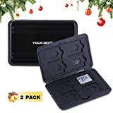 YOUKaDa Metal Memory Card Case Holder Water-Resistant Pocket-Sized SD Holder for 8 SD Cards & 8 Micro SD Cards (2 Pack-Black)