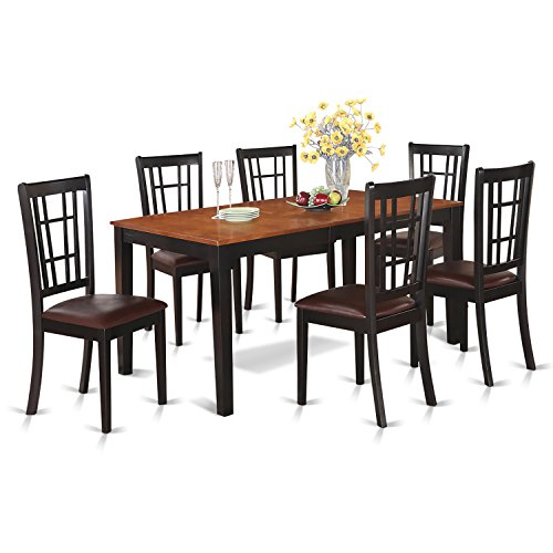 East West Furniture NICO7-BLK-LC 7-Piece Dining Table Set, Black/Cherry Finish (Leaf Cherry Finish Dining Table)