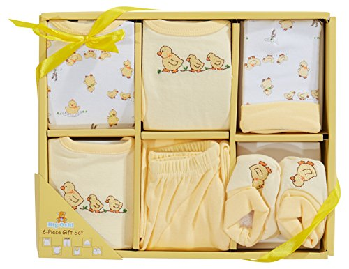 (Big Oshi 6 Piece Layette Newborn Baby Gift Set - Great Baby Shower or Registry Gift Box to Welcome a New Arrival - All the Essentials - Pants, Shirt, Cap, Booties, Bodysuit, and Bib, Yellow)