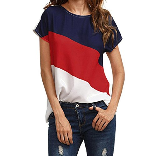 Big Promotion! Women Shirts WEUIE Womens Color Block Chiffon Short Sleeve Casual Blouse Shirts Tunic Tops