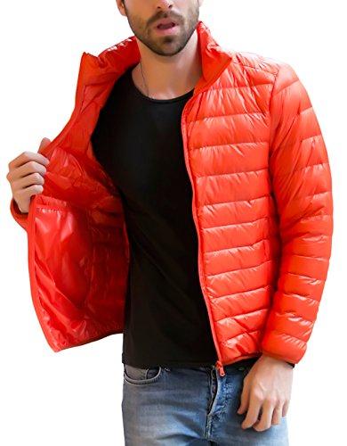 Zipper Weight Chouyatou Puffer Packable Men's Orange Full Down Light Ultra Jacket YRYgqaEw7
