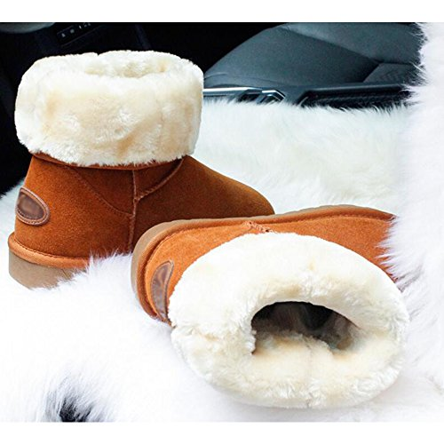 Lined Short Sequins Fleece Warm 44 Winter Brown Eastlion Keep Size Wearable Outdoor Unisex Boots Snow Calf Shoes 35 Mid Boots WW48Y