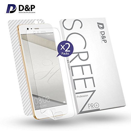 HUAWEI P10 Plus Soft Screen Protector Film 2 Pack Liquid HD Clear Film Wet Applied, D&P P10 Plus Plastic TPU Screen Protector Case Friendly Full Body Front and Back Protective Film With Applicator]()