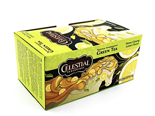 Celestial Seasonings Green Tea, Honey Ginseng Lemon, 20 Tea Bags (Pack of 6)