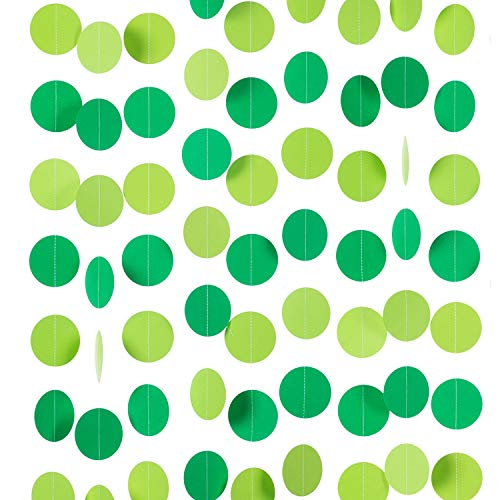 WEVEN Green Paper Garland Circle Dot Party Banner Streamer Backdrop Hanging Decorations, 2.5