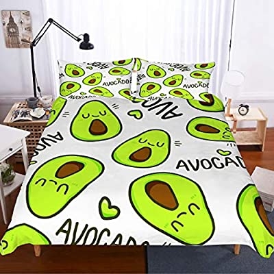 PATATINO MIO Avocado Duvet Cover Sets Twin 3D Microfiber Cartoom Emoji Faces Avocado Bedspread Printed 2 Pieces(1 Duvet Cover 1 Pillowcase) Bedding Set for Kids Boys Girls Green/White: Home & Kitchen