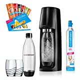 SodaStream Easy Promo Pack for fizzing up Tap Water Without having to carry it in. 1 Cylinder, 2x 1 Litre PET Bottles (BPA Free) – 2 Glasses and 6 Syrup Samples; Colour: Black