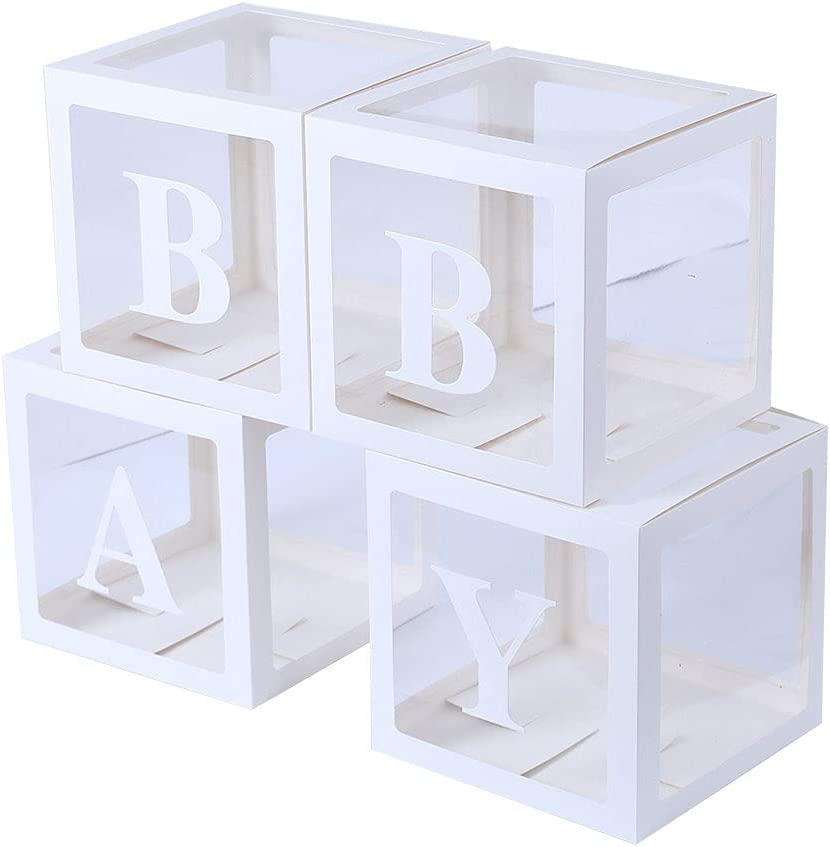 Baby Shower Boxes Decorations for Girl & Boy, 4-Pack Transparent Balloons Boxes Décor with BABY Letters for Gender Reveal Baby Shower Decorations Bridal Showers Birthday Party Backdrop