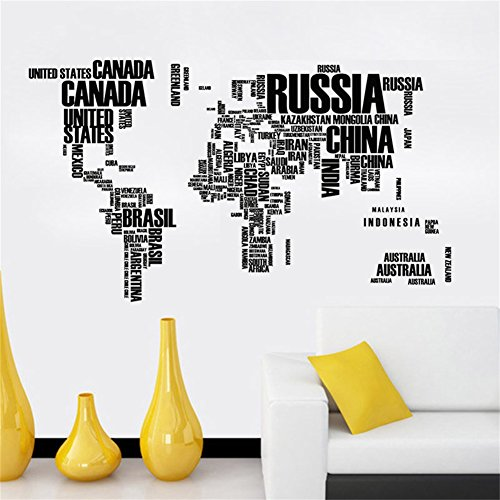 Lkous World Map Wall Sticker Country Name Wall Sticker Decal in Words-large Text World Map Stickers for Home or Office Decor(black)