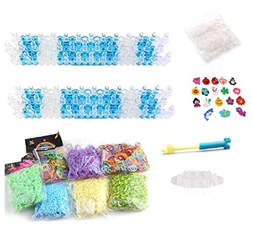 Value Pack Loom Band DIY: 5000 Rubber Bands Refills, 2 Big Boards, 1 Metal Hook, 1 Monster Tail Board, 1 Pack Clips, and 12 Silicone Charms by Thinkin Toys
