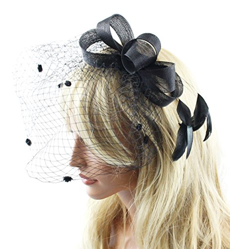 Catherine Ladies Sinamay Fascinator Hat with Hair Clip with Polka Dot Veil and Feathers Tea Party Derby Wedding Accessory for Adults Women Teens (Black)