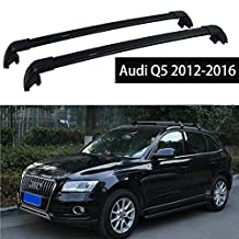 Fit for Audi Q5 2012-2017 Lockable Baggage Luggage Racks Roof Rack Rail Cross Bar Crossbar - Black