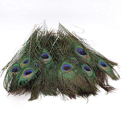 50Pcs Beautiful Peacock Tail Feathers Wedding Party Decorations DIY Craft Clothes Art Dance Dress Hats Bridal Costume 25-30cm -