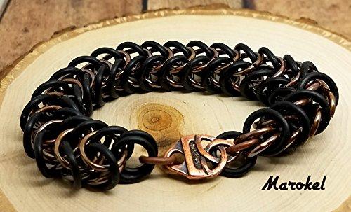 Chain Industrial Link Bracelet - Celtic Knot Chain Maille Bracelet Unisex Box Chain rubber Links Stretch Black Copper