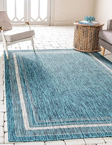 Unique Loom Outdoor Border Collection Casual Solid Border Transitional Indoor and Outdoor Flatweave Teal  Area Rug (5' 0 x 8' 0) (Rug Outdoor Modern)
