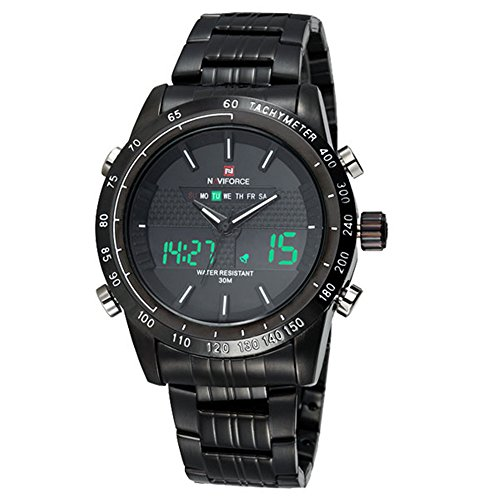 Luxury Naviforce Brand Full Steel Quartz Digital LED Watch Army Military Watches Sport Watches by NAVIFORCE