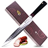 Tuo Cutlery 9 inch Slicing Carving Knife - Japanese AUS-10D Damascus Steel - Meat Knife with Ergonomic G10 Handle - RING-D Series