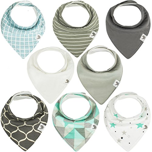 Baby Bandana Drool Bibs - Unisex 8-pack Bib Set For Drooling & Teething Boys & Girls - Soft Absorbent 100% Organic Cotton & Fleece - Hidden Stitch Edge - Best Gift for Newborn Boy & Girl - Mint & Gray