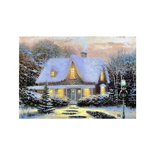 (Oldeagle 5D Winter Christmas Snow Scene Full Embroidery Paintings Rhinestone Pasted DIY Diamond Painting Cross Stitch Wall Decor For Christmas)