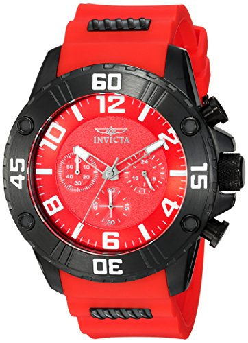 Invicta Men's 'Pro Diver' Quartz Stainless Steel and Silicone Casual Watch, Color:Red (Model: 22700) (Invicta Black And Red)