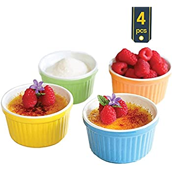 Uno Casa Ceramic Colorful Ramekins, Souffle Dishes - 5 Ounce For Souffle, Creme Brulee and Ice Cream - Set of 4, Bright Colored - Package Quantity of 1 includes 4 Ramekins