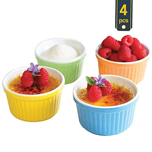 Oven Safe Ramekins (Uno Casa Ceramic Colorful Ramekins, Souffle Dishes - 5 Ounce For Souffle, Creme Brulee and Ice Cream - Set of 4, Bright Colored - Package Quantity of 1 includes 4 Ramekins)