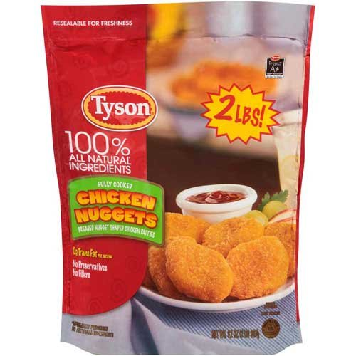 Tyson Fully Cooked Breaded Nugget Shaped Chicken Patties, 2 Pound -- 8 per case.