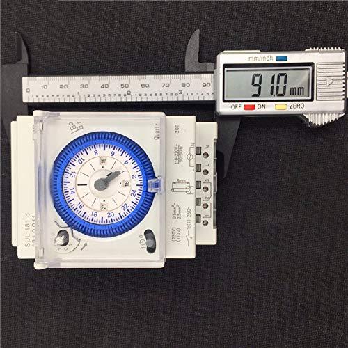 SODIAL Interruptor Temporizador Mec/ánico Anal/ógico 110V-220V 24 Horas Programable Diariamente 15 Minutos Rel/éinterruptor De Tiempo De Ajuste SUL181D Caliente