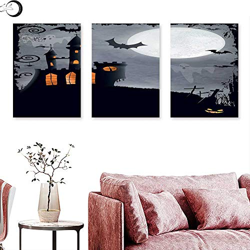 J Chief Sky Vintage Halloween Abstract Painting Halloween Themed Asymmetric Caste with Scary Bats and Ghosts Full Moon Triptych Art Set Black Grey Triptych Art Canvas W 24