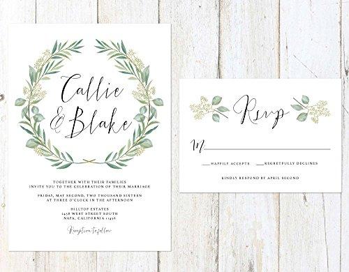 Eucalyptus Wedding Invitation, Green Wreath Wedding Invitation, Watercolor Leaves Wedding Invitation by Alexa Nelson Prints