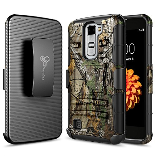 LG K7 Case, LG Tribute 5 Case, LG Treasure LTE Case, NageBee [Heavy Duty] Armor Shock Proof Dual Layer [Swivel Belt Clip] Holster with [Kickstand] Combo Rugged Case - Camouflage