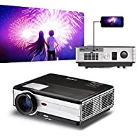 2017 EUG Smartphone iPhone Projector LCD LED 3500 Lumen HD 1080P Support, Wired Synchronize Use a USB cable only, 1280x800 Native Resolution with Dual HDMI,Dual USB, VGA,AV, Earphone Interface