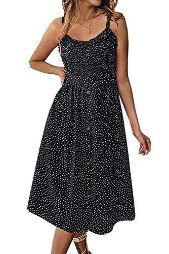 Tiksawon Dresses for Women Summer Bohemian Polka Dot Button Spaghetti Strap Belted Elastic Empire Waist A-Line Midi Dress with Pockets Black M