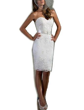 a0e5588cdd0ba2 YASIOU Brautkleid Damen Vintage Kurz Weiß Tüll Spitze Eng Glitzer Trägerlos  Herzausschnitt Band Hochzeitskleid: Amazon.de: Bekleidung