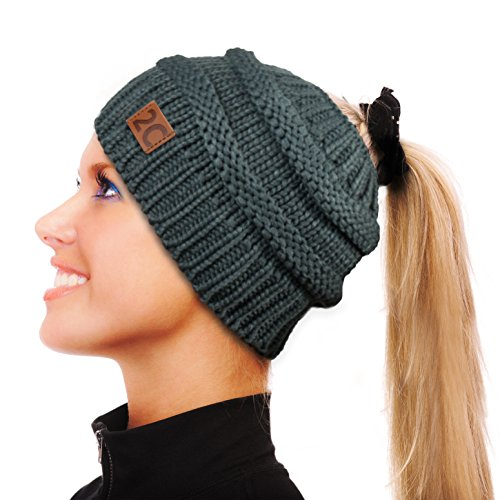 2C Messy Bun Hat Beanie For Women - Chunky Cable Knit Ponytail Winter Cap