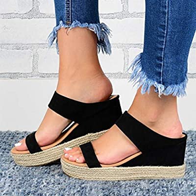 Haomigol Women Espadrilles Platform Wedge Sandals Open Toe Strap Strappy Sandals Summer Beach Slip On Slippers Slide Sandals at  Women's Clothing store